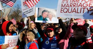 Protesters rally against the Defense of Marriage Act in front of the US Supreme Court in Washington this week. Photograph:  Jonathan Ernst/Reuters