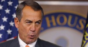 House speaker John Boehner holds a news conference in Washington. Photograph: Gary Cameron/Reuters