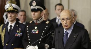 Italian president Giorgio Napolitano addresses the media, at Rome's Quirinale presidential palace earlier this month.