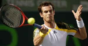 Britain's Andy Murray hits a forehand return to Richard Gasquet of France in their  semi-final at the Sony Open in Key Biscayne, Florida. Photograph: Kevin Lamarque/Reuters
