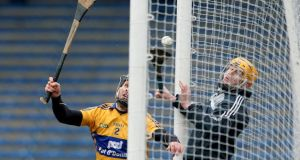 Clare's Domhnall O'Donovan manages to score an own goal in yesterday's National Hurling League Division 1A game against Tipperary in Thurles. Photograph: Lorraine O'Sullivan/Inpho