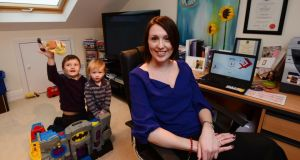 Self-employed tax and financial adviser    Lorraine Cooke with her sons Daniel (5) and Jack (2) in her office at home in Stillorgan, Co Dublin. Photograph: Alan Betson