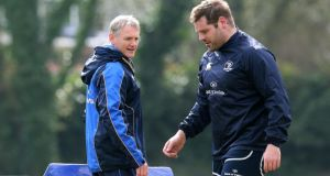 Leinster head coach Joe Schmidt and prop Mike Ross during training at UCD. Photograph: Lorraine O'Sullivan/Inpho
