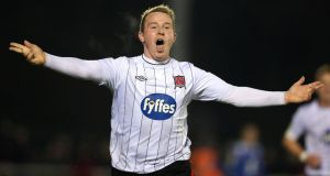 Michael Rafter of Dundalk celebrates scoring the first goal of the game. Photograph: Inpho