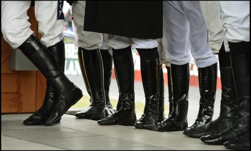 Itchy feet... jockeys line up  before  the Ladbrokes Irish Grand National at Fairyhouse. Photograph: Brenda Fitzsimons/The Irish Times