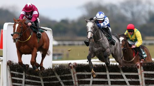 Pique Sous ridden by Paul Townend (right) racing clear of Cops and Robbers ridden by Davy Russell in the Rathbarry and Glenview Studs Hurdle at Fairyhouse. Photograph: Julien Behal/PA Wire