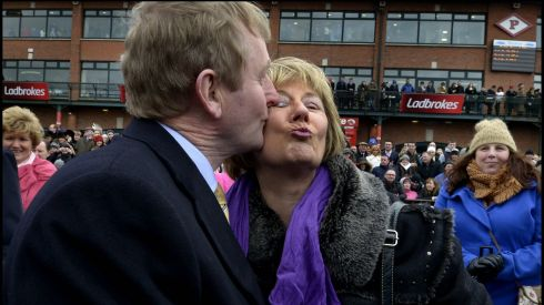 Taoiseach Enda Kenny with Helen Murtagh, joint owner of Liberty Counsel, which won the Ladbrokes Irish Grand National at Fairyhouse Races. Photograph: Brenda Fitzsimons/The Irish Times
