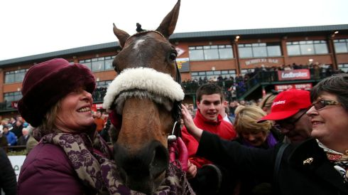Trainer Dot Love with Liberty Counsel, winner of the Grand National. Photograph: Julien Behal/PA Wire