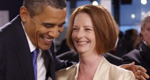 Leaders of the left: US president Barack Obama with Australia's prime minister Julia Gillard. Photograph: Kevin Lamarque/Reuters