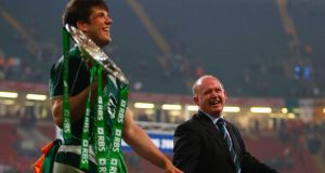 Ireland coach Declan Kidney celebrates the Grand Slam success with Donncha O'Callaghan in Cardiff in 2009. Photograph: Stu Forster/Getty Images