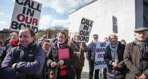 Protesters call for services at the Ard na Deirge ghost  estate in  Killaloe, Co Clare, yesterday. Photograph: Eamon Ward