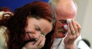 Mick Philpott and wife Mairead speak to the media at Derby Conference Centre, Derby following a fire at their home which claimed the lives of six of his children. Photograph: Rui Vieira/PA Wire