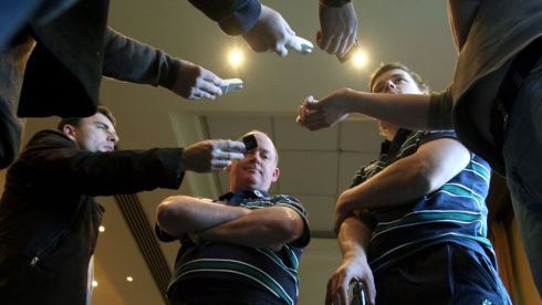 Declan Kidney and captain Brian O'Driscoll answer questions from the media at an Ireland press conference at Castletroy Park Hotel in Limerick in October 2008, in the months leading to the team's Grand Slam success. Photograph: Billy Stickland/Inpho