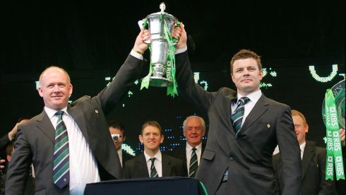 Kidney and captain Brian O'Driscoll lift the Six Nations Cup at a homecoming on Dawson Street, Dublin, in the glory days of 2009. Photograph: Brenda Fitzsimons/The Irish Times