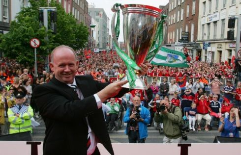 Then Munster rugby coach Declan Kidney on the stage on O'Connell Street, Limerick, in May 2008 after a triumphant Munster team paraded through the city after winning the Heineken Cup for the second time by beating Toulouse in Cardiff. It was a taster of the success Kidney would have as Ireland coach the following year. Photograph: Bryan O'Brien/The Irish Times