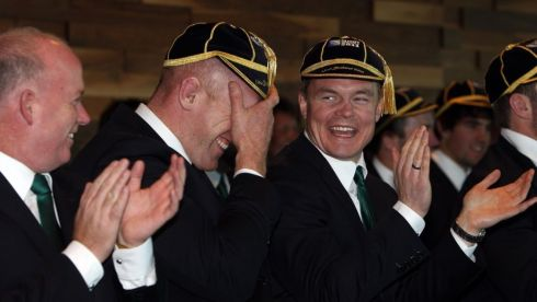 Having a laugh as the Ireland squad are ceremonially welcomed at Skyline Luge, Queenstown, New Zealand in September 2011 for the rugby World Cup. Photograph: Dan Sheridan/Inpho