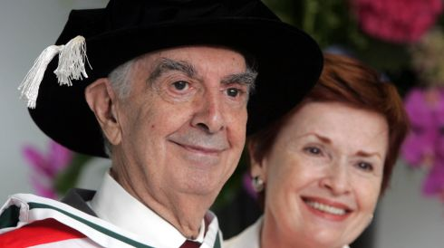 Man of letters: Milo O'Shea is conferred with a doctorate of literature for his contribution to the arts,  with his wife Kitty Sullivan at UCD in June 2007. Photograph: Cyril Byrne/The Irish Times