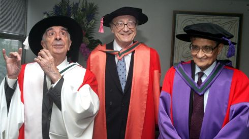 The actor with Alfred Brenel, who was conferred with a Doctor of Music, and Amartya Sen, who received a Doctor of Laws, at UCD in June 2007.   Photograph: Cyril Byrne/The Irish Times