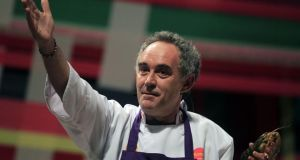 Ferran Adria gestures as he speaks during a conference at a gastronomic fair in Lima, Peru in 2011. Photograph: Reuters