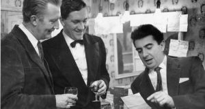 Milo O'Shea (right) at the Gaiety in 1962  with Fergus Linehan from  The Irish Times and playwright Alan Simpson.