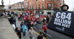 The anti-austerity march organised by the Irish Congress of Trade Unions  in Dublin  earlier this year. Photograph: Dara Mac Dónaill