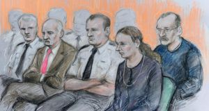 Court artist drawing of Mick Philpott (second from left) and wife Mairead (second from right) appearing at Nottingham Crown Court along with Paul Mosley (right) during  their trial for the manslaughter of the Philpotts' six children in a house fire in Allenton, Derby. Photograph: Elizabeth Cook/PA Wire