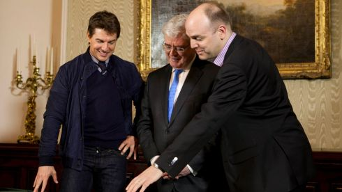 Hollywood A-lister Tom Cruise with Tánaiste and Minister for Foreign Affairs Eamon Gilmore and Mark Henry of Tourism Ireland at the Department of Foreign Affairs in Dublin, where the actor received a certificate of Irishness from the Irish Government and Tourism Ireland. Photograph: Shane O'Neill/Fennells/PA Wire