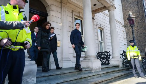 Cruise leaves Iveagh House on Dublin's St Stephen's Green after recieving  his certificate of Irishness from the Tánaiste. Photograph: Alan Betson/The Irish Times