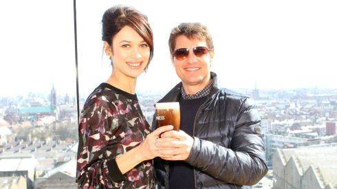 Tom Cruise with Oblivion co-star Olga Kurylenko share a scoop at the Guinness Storehouse.