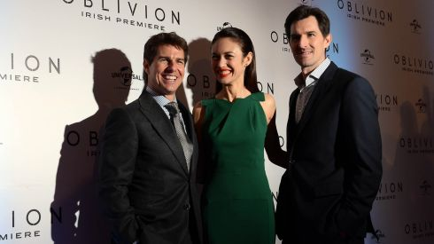 Cruise with Oblivion co-star Olga Kurylenko and Director Joe Kosinski at the Savoy premiere. Photograph: Brenda Fitzsimons/The Irish Times