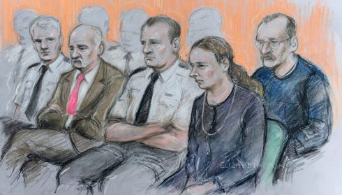 An artist's drawing dated February 12th last  of Mick Philpott and wife Mairead at a hearing at Nottingham Crown Court along with co-accused Paul Mosley (right), ahead of their trial for the manslaughter of the Philpotts' six children. Photograph: Elizabeth Cook/PA Wire