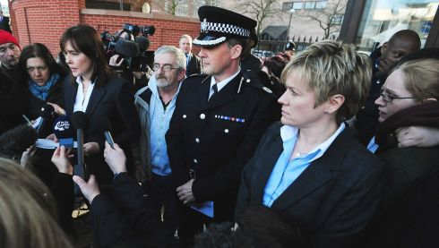 Det Supt Kate Meynell (second right), Asst Chief Constable Steve Cotterill (centre) and Jimmy Duffy (centre left), the father of Mairead Philpott, listen as a statement is read outside Nottingham Crown Court by Sam Shallow of the Crown Prosecution Service, as Mick and Mairead Philpott were convicted by jurors of the unlawful killing of their six children. Photograph: Rui Vieira/PA Wire