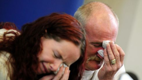 Mick Philpott and wife Mairead in tears before members of the media at Derby Conference Centre, Derby on May 16th last year after the fire. Photograph: Rui Vieira/PA Wire