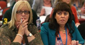 Patricia McLaughlin and Joanne Irwin of the Co Donegal TUI branch at the union's  congress in Galway yesterday. Photograph: Joe O'Shaughnessy