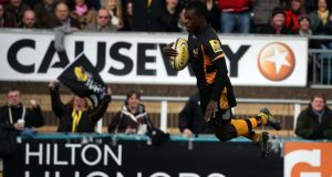 Christian Wade scores a  try for Wasps against Saracens last weekend. Photograph: Andrew Redington/Getty Images