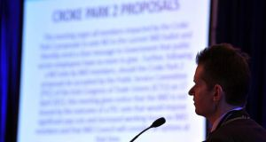 Dr Paul McKeown, president of the IMO pictured proposing a motion rejecting Croke Park II at the agm in the Hotel Europe, Killarney, yesterday. Photograph: Don MacMonagle