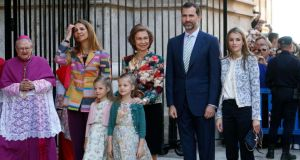 Members of Spain's royal family, including Queen Sofia, Princess Letizia and Prince Felipe, attending Easter Mass at the cathedral in Palma de Mallorca last Sunday. Photograph: Enrique Calvo