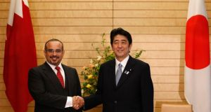 Bahrain's Crown Prince Salman bin Hamad al-Khalifa meets with Japan's Prime Minister Shinzo Abe. Reuters