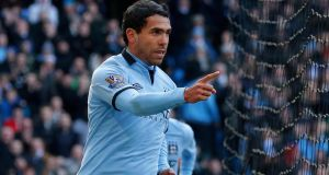 Manchester City's Carlos Tevez celebrates after scoring against Newcastle United at The Etihad Stadium last weekend. Photograph: Phil Noble/Reuters
