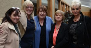 Abuse victims Pictured at the launch of the ANU campaign to raise awearness of sex abuse in Ireland at the Candem Hotel today. From left are the Kavanagh sisters Joyce, June and Paula, Cynthia Owen and Fiona Doyle. Photograph: Cyril Byrne/The Irish Times