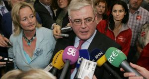 Nessa Childers with Labour leader Eamon Gilmore at the Ireland East count in Punchestown, Co Kildare, in June 2009.  Photograph: Cyril Byrne
