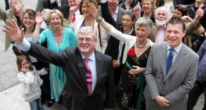 Labour leader Eamon Gilmore with Nessa Childers (on left) after her election as an MEP in 2009. Photograph: Eric Luke