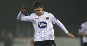 Dane Massey scored the first for Dundalk. Photograph: Lorraine O'Sullivan/Inpho