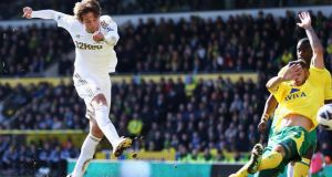 Michu of Swansea City scores against at Norwich City at Carrow Road.  Photograph: Matthew Lewis/Getty Images