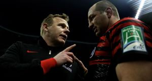 Saracens' director of rugby Mark McCall speaks with his captain Steve Borthwick following their victory over Ulster at Twickenham. Photograph: Warren Little/Getty Images