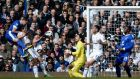 Everton's Phil Jagielka heads home his side's first goal during the Premier League clash against Tottenham Hotspur  at White Hart Lane. Photograph:  Dylan Martinez/Reuters