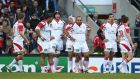 Ulster players look dejected after a Saracens' try. Photograph: Billy Stickland/Inpho