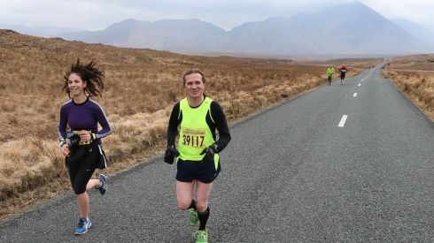 Former Saw Doctors drummer Johnny Donnelly of Arcana  taking part in the Connemara International Marathon.  Photograph: Joe O'Shaughnessy