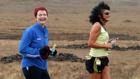 Bridget Ann Walsh (left) and Eileen O'Donoghue competing in their 12th Connemara Interntional Marathon yesterday. They have taken part in all of the Connemara International Marathons since its first running.  Photograph: Joe O'Shaughnessy. 7/4/2013