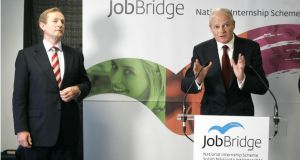 Taoiseach Enda Kenny  with Martin Murphy, managing director of HP Ireland and chairman of the steering group on JobBridge, at the launch of the Government's  national internship scheme in 2011. Photograph: Dara Mac Dónaill